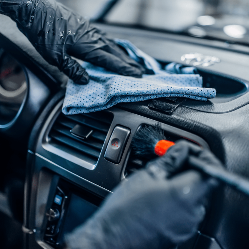 visual image of car interior being professionally detailed
